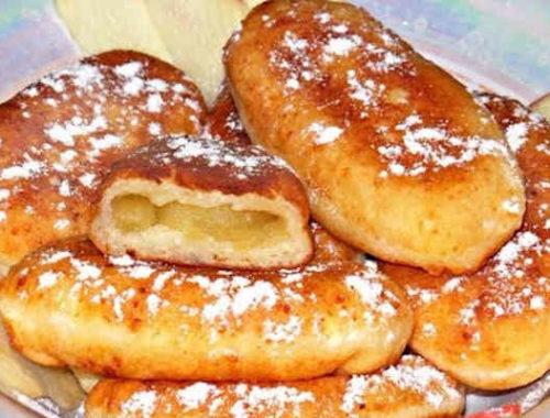 Творожные жареные пирожки с яблоками
